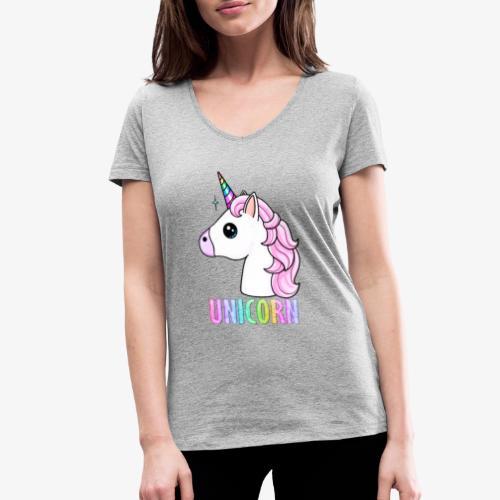 Unicorn - T-shirt ecologica da donna con scollo a V di Stanley & Stella