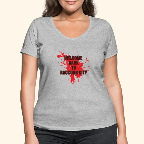 Welcome Back to Raccoon City TEXT 01 - Women's Organic V-Neck T-Shirt by Stanley & Stella