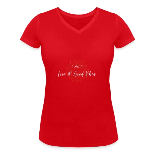 I am love and good vibes white gold - Frauen Bio-T-Shirt mit V-Ausschnitt von Stanley & Stella