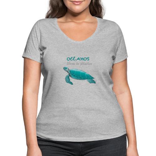 Océanos libres de plástico - Camiseta ecológica mujer con cuello de pico de Stanley & Stella