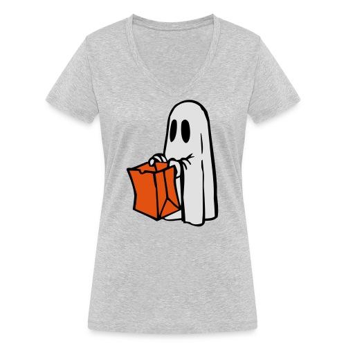 Geist mit Tüte 3farbig - Frauen Bio-T-Shirt mit V-Ausschnitt von Stanley & Stella