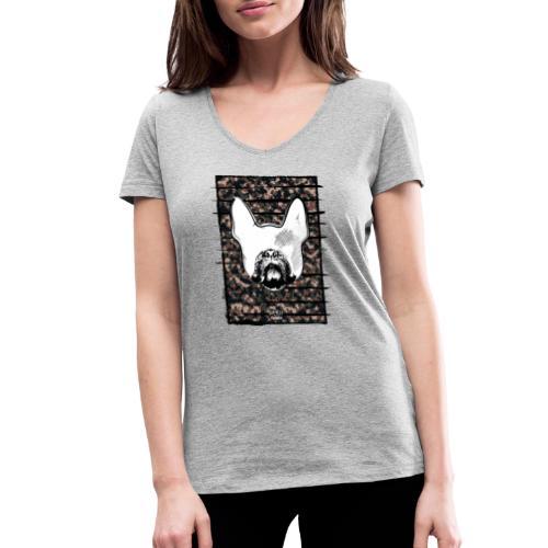 Französische Bulldogge Camouflage Silhouette - Frauen Bio-T-Shirt mit V-Ausschnitt von Stanley & Stella