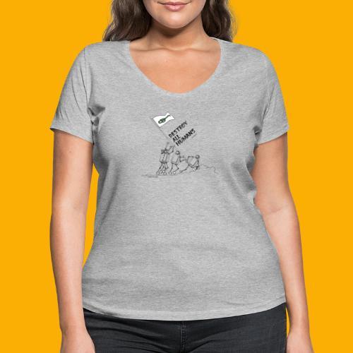 Dat Robot: Destroy War Light - Vrouwen bio T-shirt met V-hals van Stanley & Stella