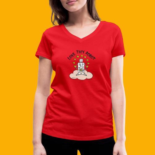 Dat Robot: Love Thy Robot Buddha Light - Vrouwen bio T-shirt met V-hals van Stanley & Stella