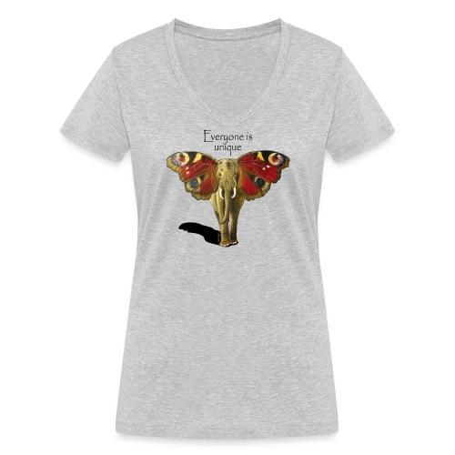 Everyone is unique – Schmettefant - Frauen Bio-T-Shirt mit V-Ausschnitt von Stanley & Stella