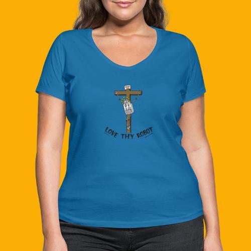 Dat Robot: Love Thy Robot Jesus Light - Vrouwen bio T-shirt met V-hals van Stanley & Stella