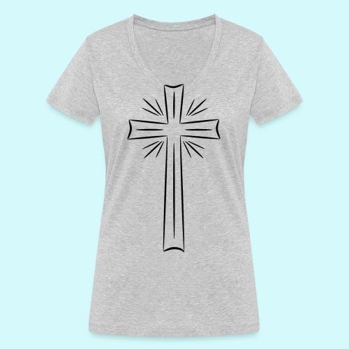 Kreuz schwarz - Frauen Bio-T-Shirt mit V-Ausschnitt von Stanley & Stella