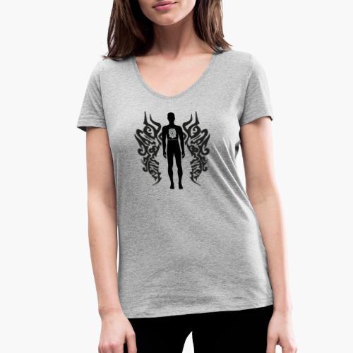 Houseology Original - Angel of Music (INVERSE) - Women's Organic V-Neck T-Shirt by Stanley & Stella