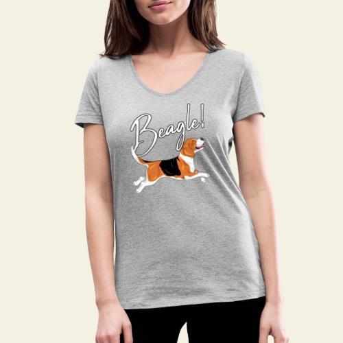Beagle - Stanley & Stellan naisten v-aukkoinen luomu-T-paita