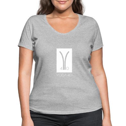 Y40 logotipo blanco - Camiseta ecológica mujer con cuello de pico de Stanley & Stella