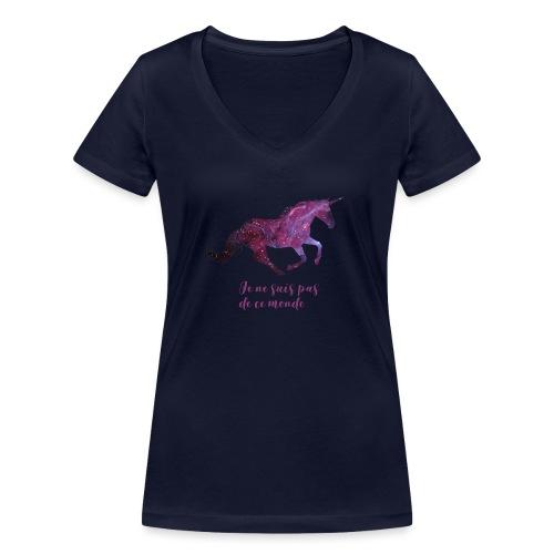 La licorne cosmique - T-shirt bio col V Stanley & Stella Femme