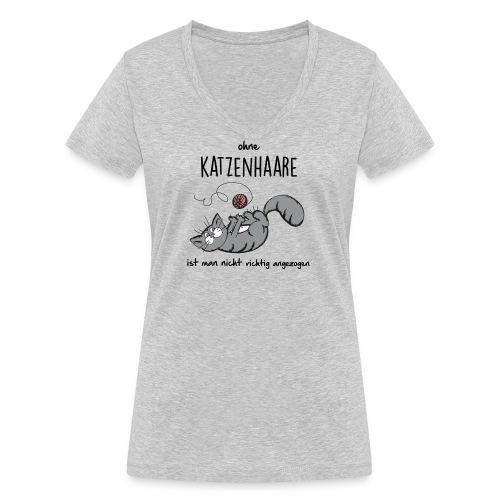 Vorschau: ohne KATZENHAARE ist man nicht richtig angezogen - Frauen Bio-T-Shirt mit V-Ausschnitt von Stanley &