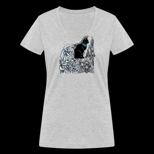Celtic Cat - Women's Organic V-Neck T-Shirt by Stanley & Stella