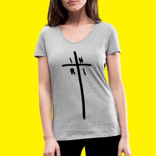 Cross - INRI (Jesus of Nazareth King of Jews) - Women's Organic V-Neck T-Shirt by Stanley & Stella
