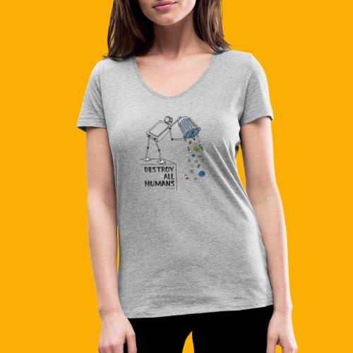 Dat Robot: Destruction By Pollution light - Vrouwen bio T-shirt met V-hals van Stanley & Stella