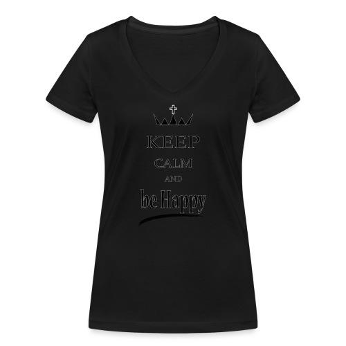 keep_calm and_be_happy-01 - T-shirt ecologica da donna con scollo a V di Stanley & Stella