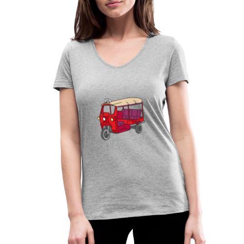 Rote Autorikscha, Tuk-tuk - Frauen Bio-T-Shirt mit V-Ausschnitt von Stanley & Stella
