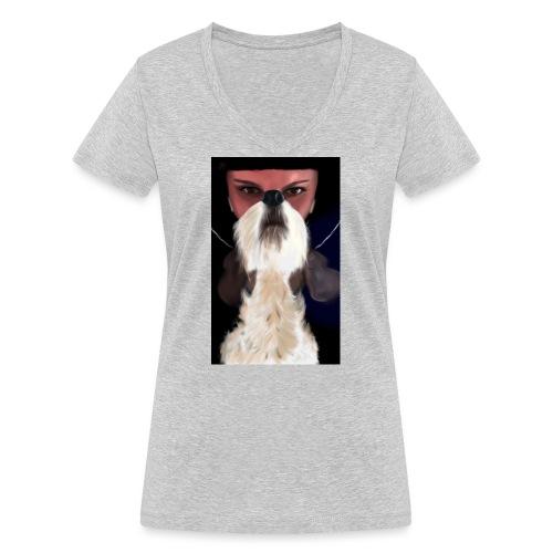 She and jack russell terrier - Ekologiczna koszulka damska z dekoltem w serek Stanley & Stella