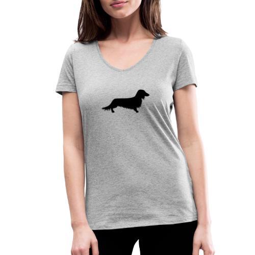 Langhaardackel - Frauen Bio-T-Shirt mit V-Ausschnitt von Stanley & Stella