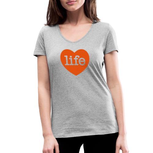 LOVE LIFE heart - Women's Organic V-Neck T-Shirt by Stanley & Stella