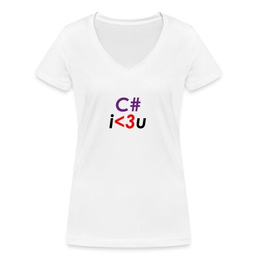C# is love - T-shirt ecologica da donna con scollo a V di Stanley & Stella