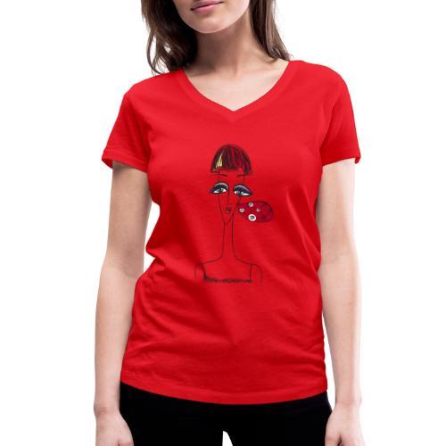 Viso di donna con orecchino - T-shirt ecologica da donna con scollo a V di Stanley & Stella