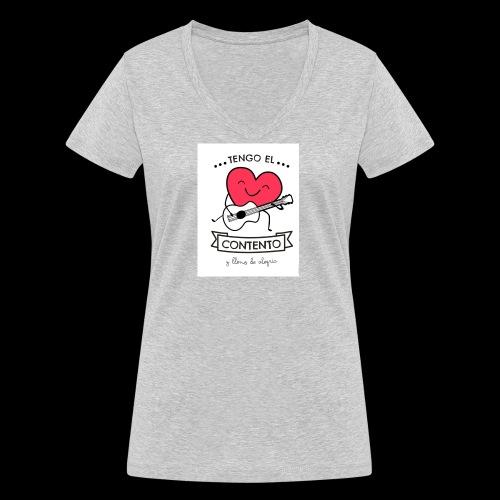 Tengo el corazón contento - Camiseta ecológica mujer con cuello de pico de Stanley & Stella