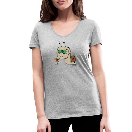 Schnecky - Frauen Bio-T-Shirt mit V-Ausschnitt von Stanley & Stella