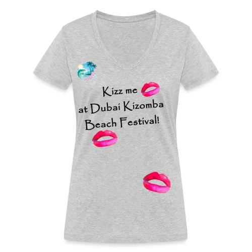 Perfect lips design black text variation 3 - Women's Organic V-Neck T-Shirt by Stanley & Stella