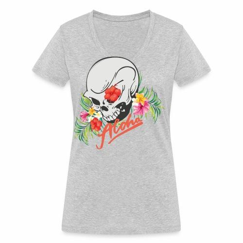 Hawaiian Skull Aloha Surfer Design - Frauen Bio-T-Shirt mit V-Ausschnitt von Stanley & Stella