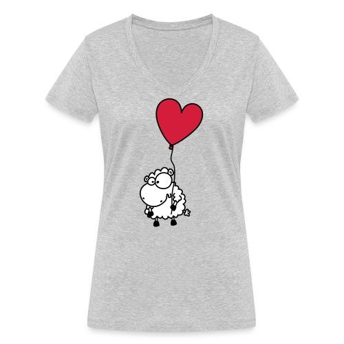 Liebes Schaf - mit Herz Ballon - Frauen Bio-T-Shirt mit V-Ausschnitt von Stanley & Stella