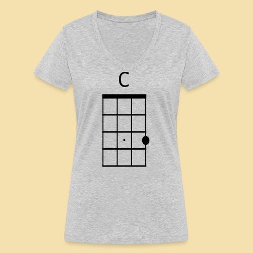 Ukulele C-Dur Akkordklein - Frauen Bio-T-Shirt mit V-Ausschnitt von Stanley & Stella