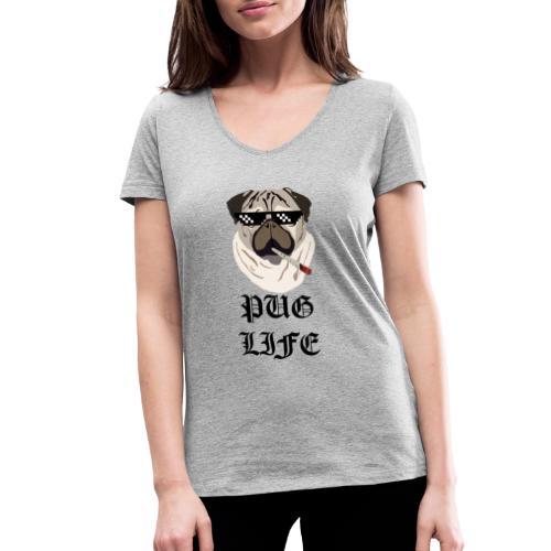 Pug Life - Økologisk Stanley & Stella T-shirt med V-udskæring til damer