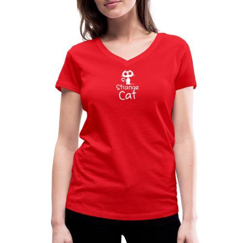 Strange Cat Blanc - T-shirt bio col V Stanley & Stella Femme