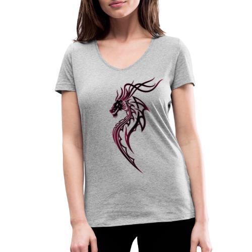 Fantasy Drache im Tattoo und Tribal Style - Frauen Bio-T-Shirt mit V-Ausschnitt von Stanley & Stella