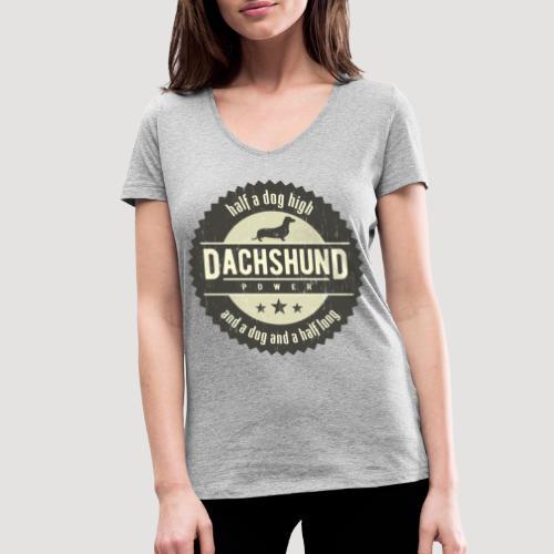 Dachshund Power - Vrouwen bio T-shirt met V-hals van Stanley & Stella