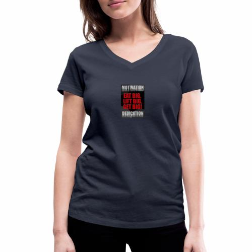Motivation gym - Ekologisk T-shirt med V-ringning dam från Stanley & Stella