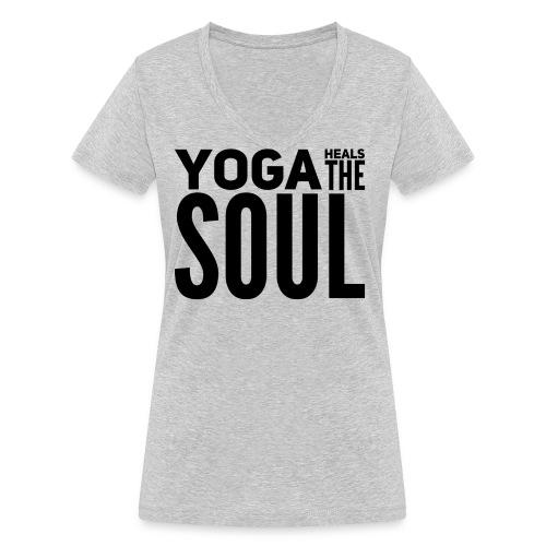 yogalover - Vrouwen bio T-shirt met V-hals van Stanley & Stella