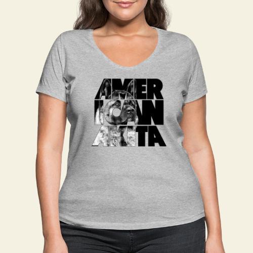 American Akita IV - Stanley & Stellan naisten v-aukkoinen luomu-T-paita