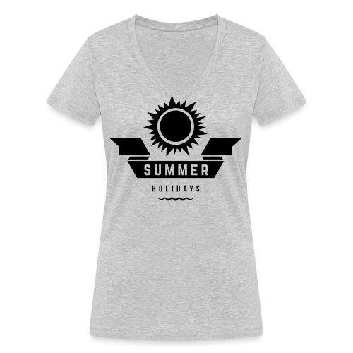 Summer holidays - Stanley & Stellan naisten v-aukkoinen luomu-T-paita