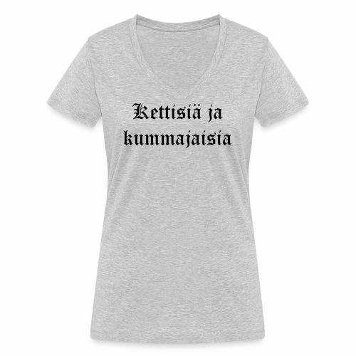 Kettisiä ja kummajaisia - Stanley & Stellan naisten v-aukkoinen luomu-T-paita