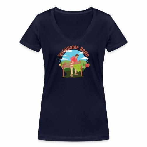 Cáñamo Sustentable en Inglés (Sustainable Hemp) - Camiseta ecológica mujer con cuello de pico de Stanley & Stella