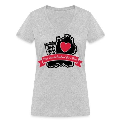 Herzle BW - Frauen Bio-T-Shirt mit V-Ausschnitt von Stanley & Stella