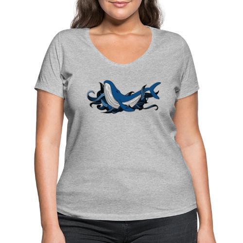 Doodle ink Whale - T-shirt ecologica da donna con scollo a V di Stanley & Stella