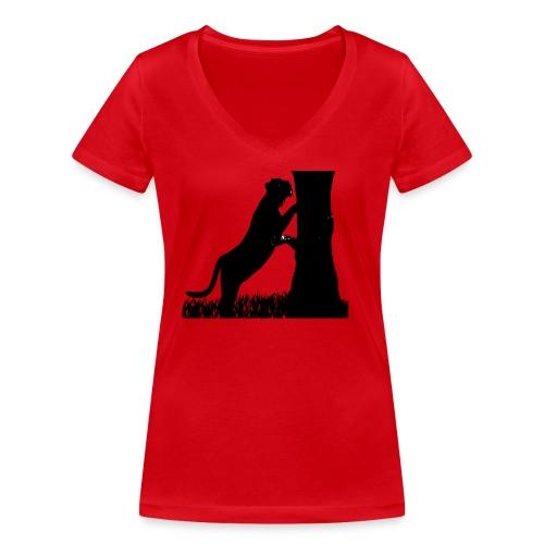 Tiger On A Tree - T-shirt ecologica da donna con scollo a V di Stanley & Stella