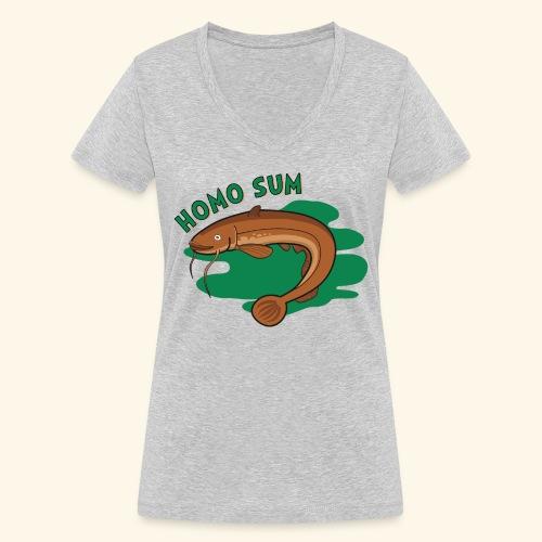 Homo sum ;) - Ekologiczna koszulka damska z dekoltem w serek Stanley & Stella
