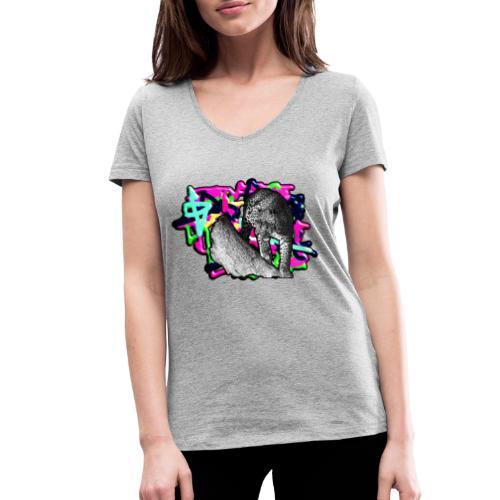 Leopard auf Bunt - Frauen Bio-T-Shirt mit V-Ausschnitt von Stanley & Stella