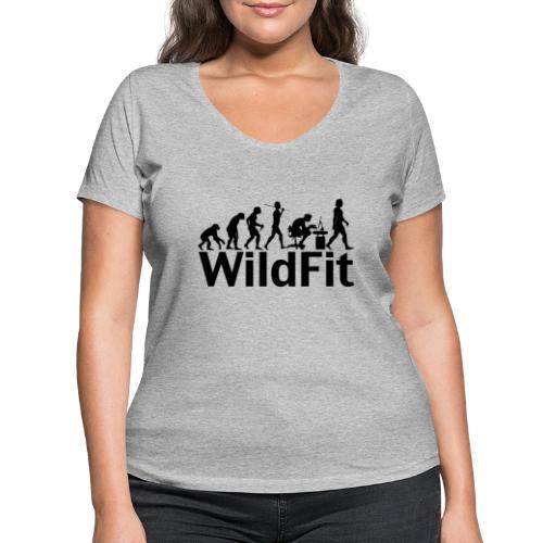 WildFit Logo Evolution in Schwarz - Frauen Bio-T-Shirt mit V-Ausschnitt von Stanley & Stella