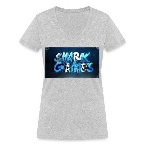 SharkGames - T-shirt ecologica da donna con scollo a V di Stanley & Stella