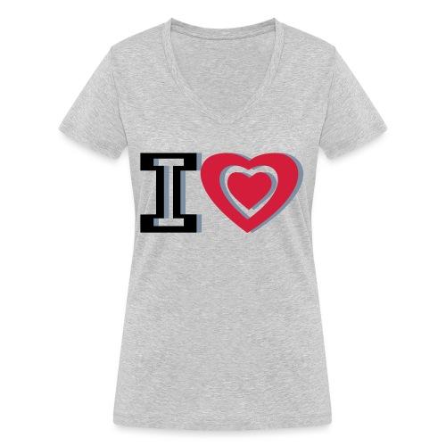 I LOVE I HEART - Women's Organic V-Neck T-Shirt by Stanley & Stella